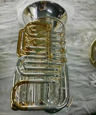 Professional MINi BBb TUBA Silver + Gold 4 Rotary valve Patented product W/Case