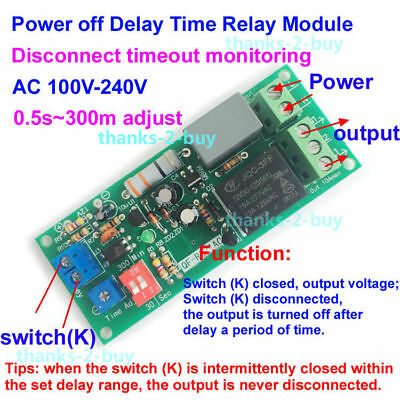 AC 110V 220V Trigger Delay Time Timing Timer Turn OFF Relay Switch Module 0~300M