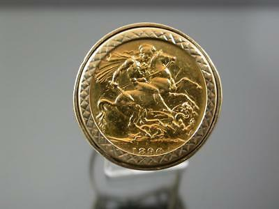 ANTIQUE 1896 22ct GOLD SOVEREIGN in 9ct Gold RING MOUNT