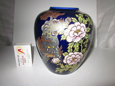 Cobalt Blue Pottery Vase with Peony and Foo Dogs & Gilt Trim Decoration