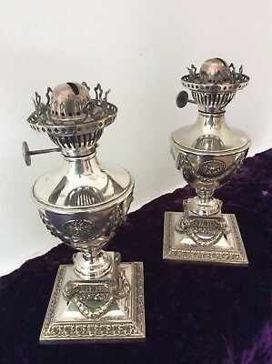 Antique Pair Of Silver Table Lamps