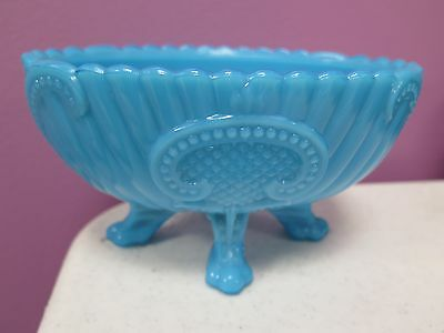 Beautiful Antique Robin Egg Blue Slag Glass Bowl Footed *rare*