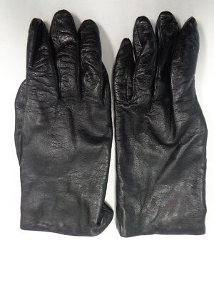 NEIMAN MARCUS Black Leather Lined Winter Gloves Women's Size 8 B4000