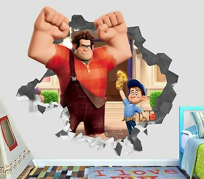 Wreck-It Ralph Wall Decal 3D Smashed Decor Sticker Vinyl Smash Movie OP32