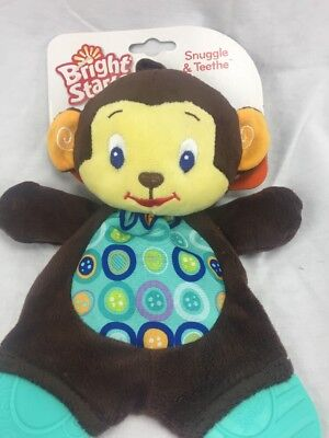 Bright Starts Snuggle and Teethe Monkey Toy Crinkly Blanket Baby teether NEW