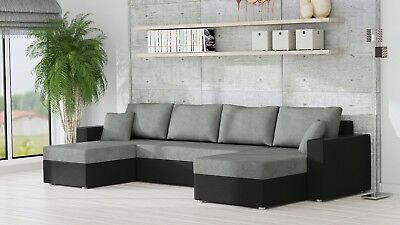 SOFA, RUMBA FABRIC & leather u-shaped corner sofa bed ...