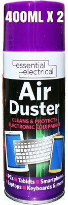 2 x 400ml Compressed Air Duster Cleaner Spray Can Protect Laptops Keyboard Mouse