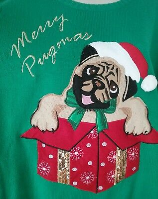 Womens Plus Size Merry Pugsmas Ugly Christmas Sweater with Fuzzy Hat 3X 22-24W