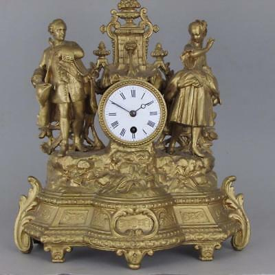 ANTIQUE FRENCH MANTEL CLOCK spectacular large and showy clock SERVICE gilt metal
