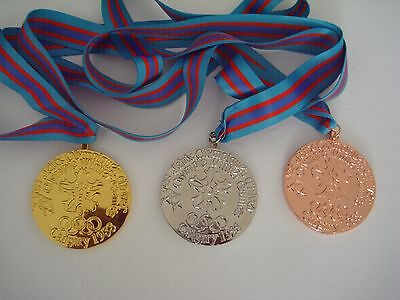 1988 Calgary Olympic Medals Set: Gold /Silver /Bronze with Silk Ribbons !!!