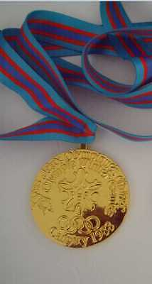 1988 Calgary Olympic 'Gold' Medal with Silk Ribbons & Display Stand !!!