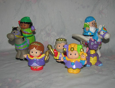 Fisher Price Little People Castle Figure Lot - King, Queen, Dragon, Jester, etc