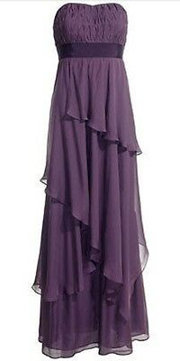 MONSOON LINDLEY PURPLE SILK MAXI COCKTAIL DRESS 10 £180 new with tags
