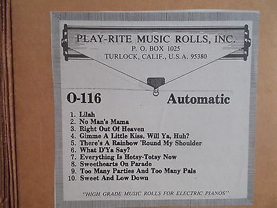 PLAY-RITE AUTOMATIC  Nickelodeon Music Roll O-116 - MUSIC PROGRAM - #197