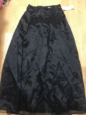 #361--Vintage new ISAAC HAZAN black chiffon high waist  long skirt, lined. nwt