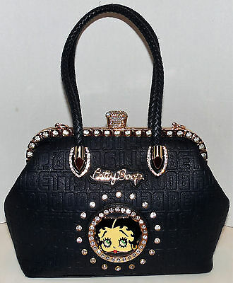 Betty Boop Premium Large Handbag Purse Studs Blinged Out Rhinetones Satchel Nice