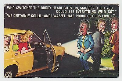 POSTCARD - saucy seaside comic, toilet humour, car headlights, Bamforth #938