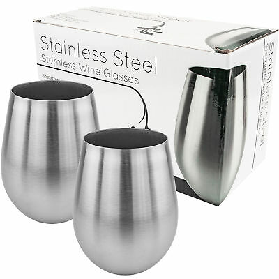 Stainless Stemless Wine Glass, Set of 2           Silver