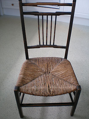 Edwardian antique child's chair rush seat