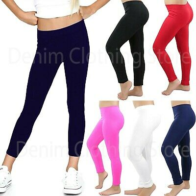 Girl's Kids Full Length Leggings Seamless Basic Plain Kids Pants Dance Trousers