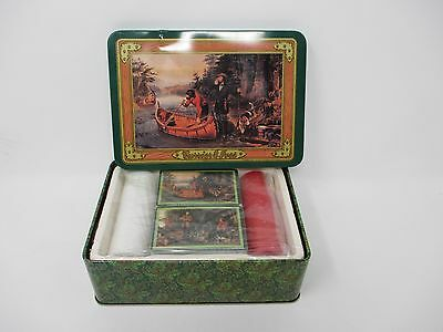 Currier & Ives Tin with Two Sets of Playing Cards and Poker Chips