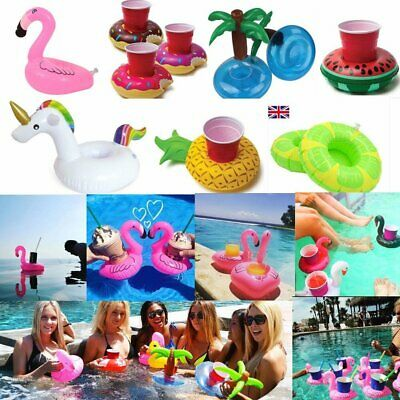 1~6 X Inflatable Floating Swimming Pool Beach Drink Can Cup Beer Holder Boat Toy