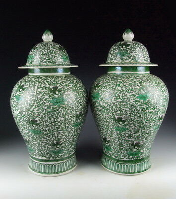 Pair of Chinese Antique Green Coloring Porcelain Lidded Jars