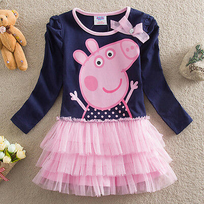 NEW Kids Girls Peppa Pig Long Sleeve Cotton Dress Size 2.3.4.5.6 navy blue pink