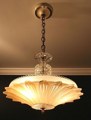 Antique beige tan glass Art Deco sunflower light fixture ceiling chandelier 40s