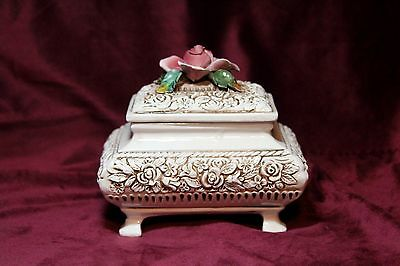 "Vintage Capodimonte Jewelry Footed  Box 7"" x 5 ""  Hand-painted Made in Italy"