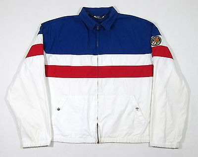 VTG 90s Polo Ralph Lauren Cookie Patch Jacket M USA Stadium 92 93 Colorblock NYC