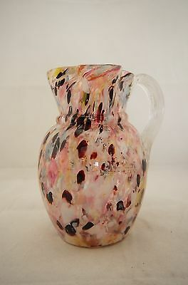 Antique 1900's Victorian Europen large speckled multicoloured glass claret jug