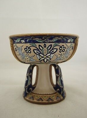 Antique Japanese signed Nippon hand painted Art Nouveau pedestal tazza bowl