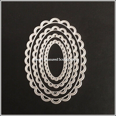 Nesting Scallop Oval Metal Cutting Die Stencil Scrapbooking Craft Emboss Paper