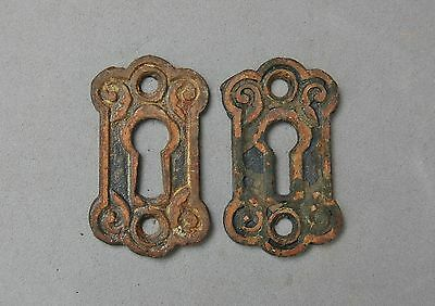 "Key Hole Escutcheon Plate Lot 2 Matching Copper Plate over Steel 1 7/8"" Antique"