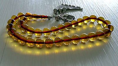 Genuine Ottoman Amber Bakelite Faturan 33 Islam Prayer Beads Misbaha