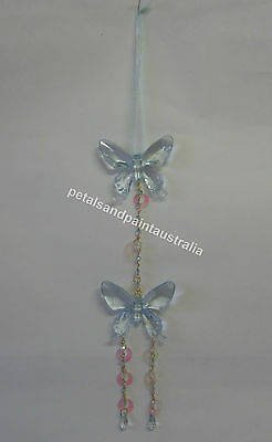New Mobile with 2 Blue Butterflies, Beads, Ribbon, Chain, Butterfly Decoration