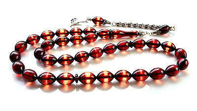 Surmeli fire Amber Bakelite Prayer Worry Beads Tasbih Tasbeeh