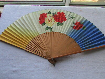 "Vintage Hand Painted Roses Japan Fan 18"" Open x 10"" Tall F-15"