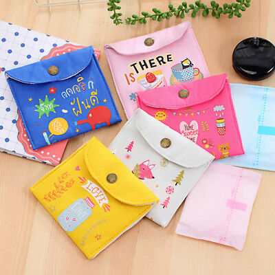 Women Canvas Small Bag Personal Sanitary Napkin Tampons Holder Travel Case Bag