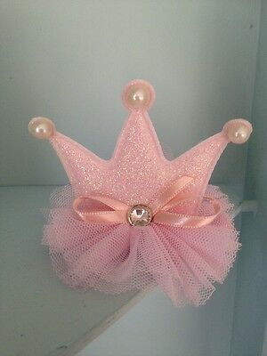 Baby Mini Clip On Crown. Pink Tulle Lace . Sparkly . Birthday Crown 👑