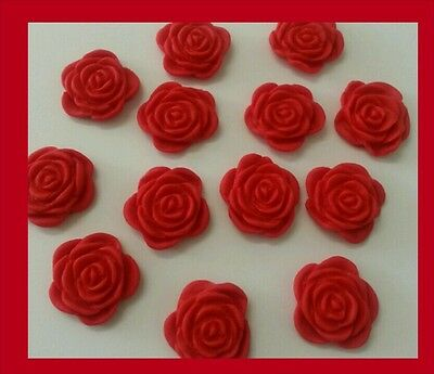 15 edible ROSE Toppers Cake Cupcake  Wedding Anniversary  RED