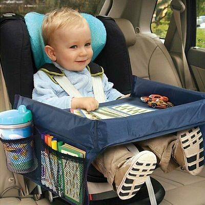 Waterproof Blue Color Kids Car Seat Snack and Play Travel Tray Table