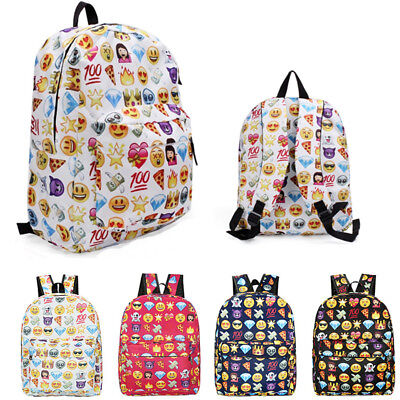 Girls Kids Emoji Backpack Bookbag Travel School Bag Rucksack Satchel Shoulder UK