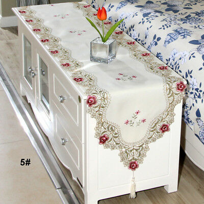Soft Table Runner Embroidered Floral Lace Fabric Translucent Gauze Table Cloth