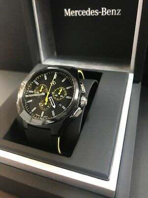 Mercedes Benz Chonograph Watch Swiss Made Black & Yellow Stainless Steel Boxed
