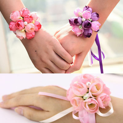 New Bridesmaid Girls Wrist Corsage Rose Ribbon Flowers Wedding Prom Party