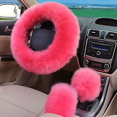 3Pcs/Set Pink Soft Plush Wool Steering Wheel Cover Furry Fluffy Car Accessory