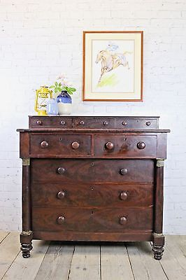 victorian side board chest of drawers - original wood - large and decorative
