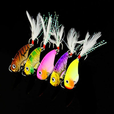 5pcs feather VIB Switchblade Blade Metal Fishing Lure Bream Bass Flathead 5.5cmR